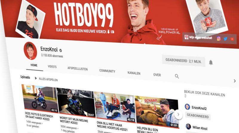 Enzo Knol past banner aan naar Hotboy99